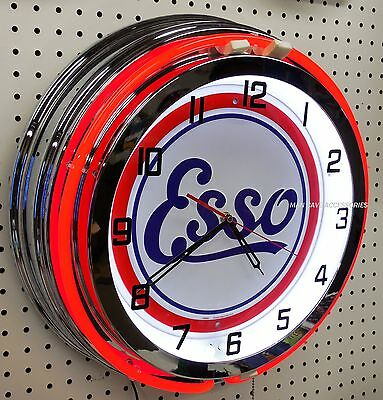 "18"" ESSO Gasoline Motor Oil Gas Station Sign Double Neon Clock"
