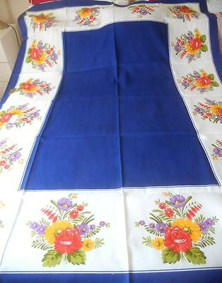 Vintage Printed Rayon Table Cloth Sprays Flowers Made West Germany 130 X 180 Cms