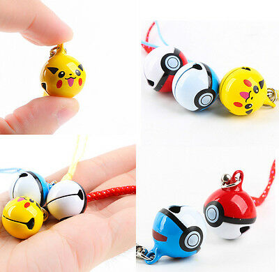 1pc Cute Pikachu Pokemon Ball Cell Phone Strap JINGLE BELLS Dangle Figures Charm