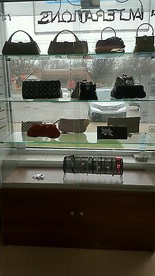 Glass showcase display case with bottom cabinet
