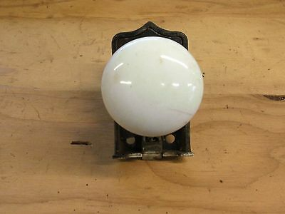 Antique Vintage  Victorian  White Glass Door Handle Knob Brass Plate