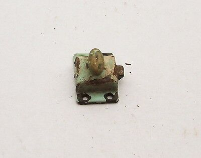 Vintage Cabinet Latch Lock Handle Pull Hardware Original Green And White Paint
