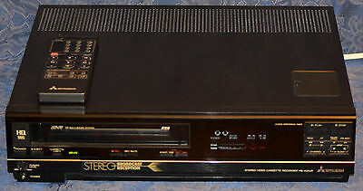 MITSUBISHI HS-421UR Hi-Fi Stereo VHS VCR Player w/REMOTE !!Made in JAPAN!! WORKS