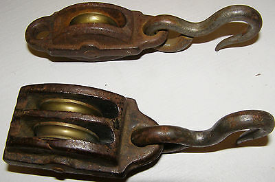 2 antique Very Nice iron Pulleys