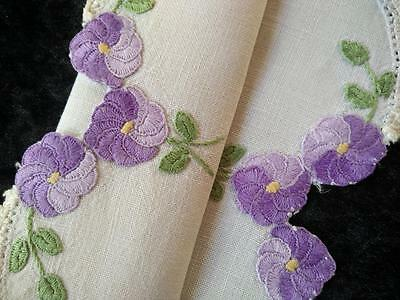 Lovely Purple Swirl flowers ~ Vintage Hand Embroidered/cut-work Doily