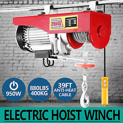 Electric Hoist Winch 400KG 240V Cable Lift Tool Remote Chain Lifting Rope Crane