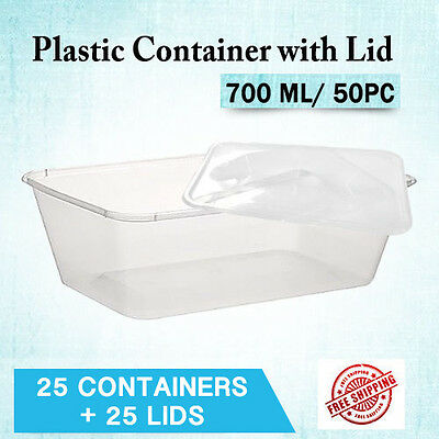 Disposable Takeaway Plastic Containers 700ML 50PC Rectangle Plastic Food Contain