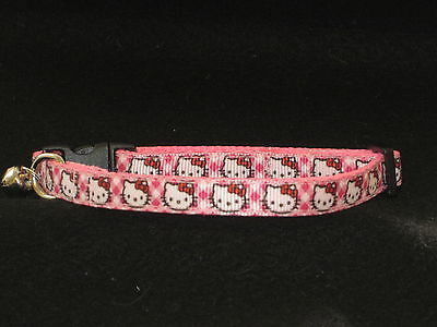 Cat Kitten collar Handmade Hello Kitty curved safety buckle Pink Handmade Bell