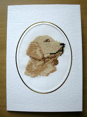 Labrador Dog Card - Completed Cross Stitch