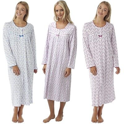 Ladies Front Opening Cotton Nightdress Womens Long Sleeve Nightie Nighty 8 - 26