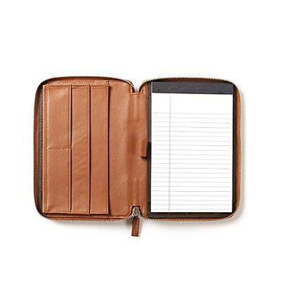 Leatherology Junior Zippered Portfolio - Full Grain Leather - Cognac (brown)