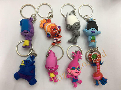 Trolls Movie Silica gel Keyring Keychain Kid Birthday Gift