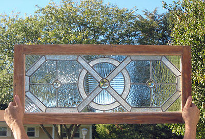 antique AMERICAN LEADED STAINED GLASS Window W/ JEWELS