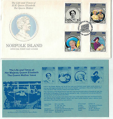 1985 Norfolk Island Life & Times Queen Mother    FDC