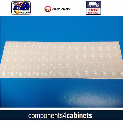 75 x Cabinet Door & Drawer Bumpers Self Adhesive Silicone Bumper Damper Buffers