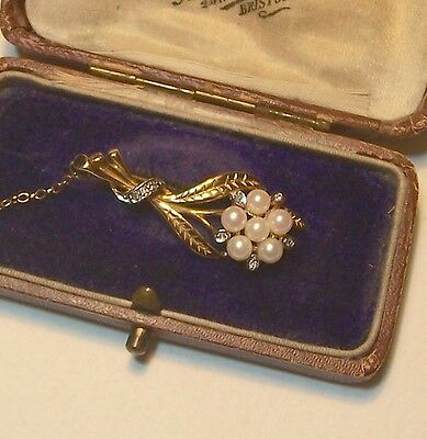 VINTAGE 9ct PEARL & DIAMOND BROOCH
