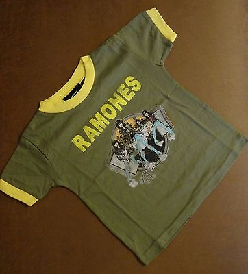 Children's khaki green coloured Ramones Rock T-Shirt 2 & 3 year old