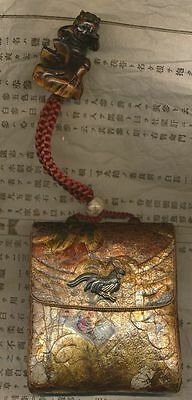 Highlight 2! Lederetui mit Netsuke - antique leather pouch - Shozan