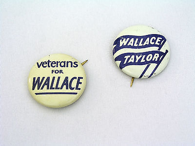 1948 Henry Wallace & Taylor Progressive Party Political Buttons - Rare Veterans