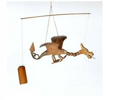 Hand Carved Wood WELSH Dragon Bamboo Coconut Garden Wind Chime Mobile