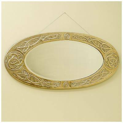 Arts & Crafts Brass Framed Wall Mirror with Celtic Knotwork Decoration