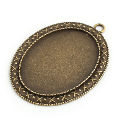 Jewelry Copper Alloy Oval Vintage Style Bead Pendant Trays Bronze Tone 40 x 30mm
