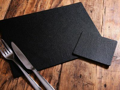 Set of 6 ARTISAN Black Bonded Leather PLACEMATS & 6 COASTERS, UK Made TABLE MATS