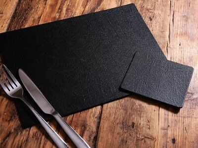 Set of 6 CLASSIC Black Leatherboard PLACEMATS and 6 COASTERS, UK Made