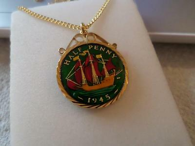 Vintage Enamelled Half Penny Coin 1945 Pendant & Necklace. Birthday / Xmas Gifts