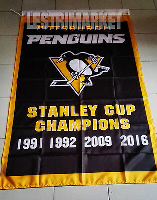 NEW FLAG BANNER PITTSBURGH PENGUINS NHL STANLEY CUP CHAMPIONS 3x5 FEET