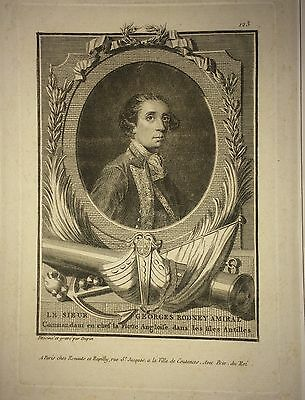 Admiral George Rodney- rare engraving- English Royal Navy-American Revolution
