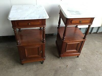 Pair of French Mahogany Marble Topped Bedside Cabinets