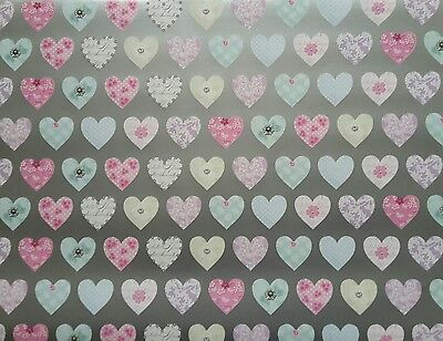 2 Sheets Of Good Quality Thick Glossy Hearts Wrapping Paper