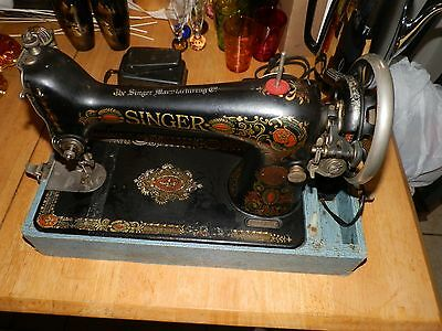 Antique 1917 Singer 66 Red Eye Treadle Sewing Machine WORKS with case & booklet
