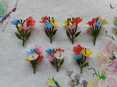 Cute vintage, retro, kitsch, tiny ditsy plastic flowers, 7 sprigs, mixed colours