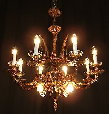 Vintage large French bronze cherub Empire style chandelier 2 available