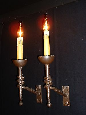 Vintage French wrought iron sconces gothic style 4 pairs available