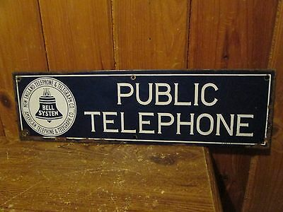 Vintage New England Telephone Telegraph Co. Public Telephone Porcelain Sign