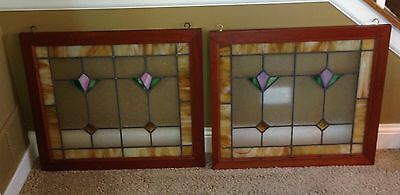 Pair Of Leaded Stained Glass Windows From Chicago Area Bungalow