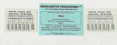 Modelmaster 4mm Decals Sheet 4462 Black Numbers & Letters For BR Mk1 Coaches