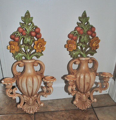 Vintage 1965 HOMCO 2 pc GARDEN URN DOUBLE ARM SCONCE SYROCO CANDLEHOLDER 4104