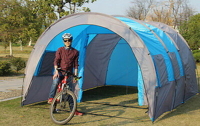 Large Camping Tent 6 Waterproof Canvas Fiberglass Tunnel 10 Person Tents