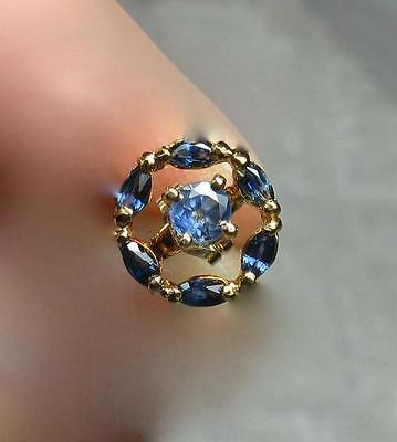 Sapphire Earrings 14K Gold Day Night Antique Estate Wedding Jewelry .8CT Great!