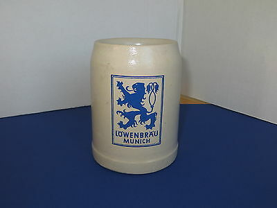 Lowenbrau Munchen .5 L Glazed Pottery Mug Mancave Barware Advertising