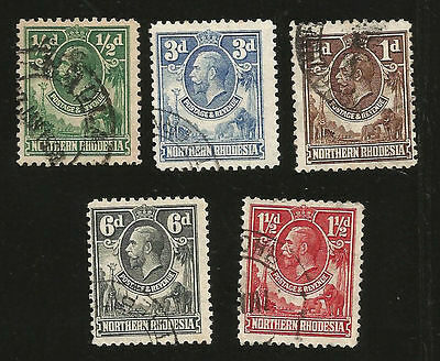 1925 North Rhodesia King George V Postally Used Stamps Elephants & Giraffe