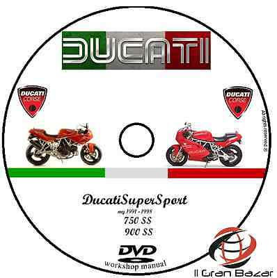 Manuale Officina Ducati 750 Ss 900 Ss  My 1991 - 1998  Workshop Manual  Cd Dvd