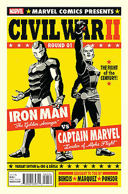 """Civil War 2 Ii #1 Michael Cho """"fight Poster"""" Variant Cover Nm 1St Printing 2016"""