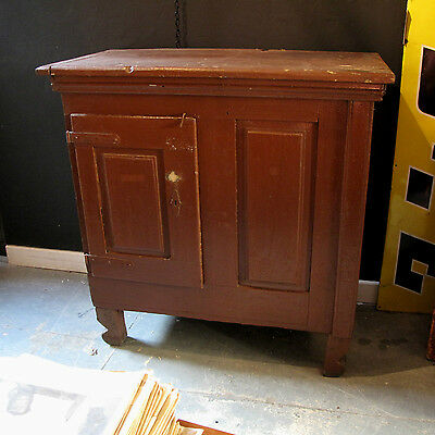 Antique Industrial Cupboard - 19th Century Continental Painted Dark Red Vintage