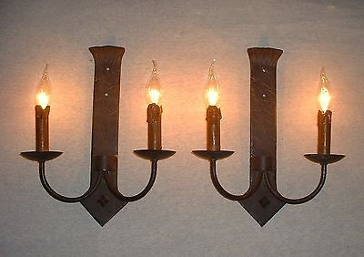 Vintage large French wrought iron sconces wax candle covers hand hammered