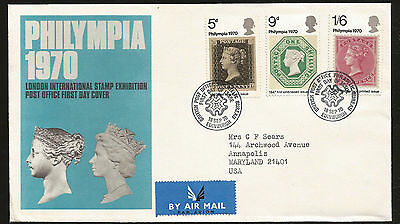 Philympia Stamp Show Penny Black Stamp On Stamp British Post Fdc To Usa!